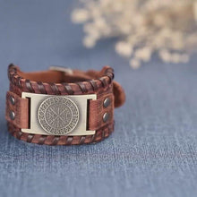 Load and play video in Gallery viewer, Genuine Leather Viking Compass Nordic Runes Odin Bracelet