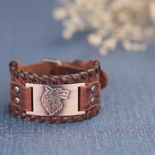 Load and play video in Gallery viewer, Viking Wolf Leather Bracelet