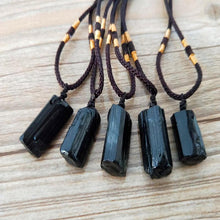 Load image into Gallery viewer, Natural Black Tourmaline Stone Pendant Necklace