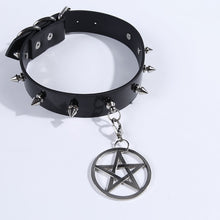 Load image into Gallery viewer, Pentacle Leather Choker