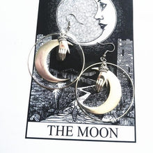 Load image into Gallery viewer, Witchy Moon and Hand Hoop Earrings