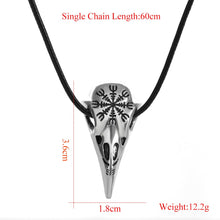 Load image into Gallery viewer, Crow Skull Nordic Viking Odin Rune Pendant Necklace