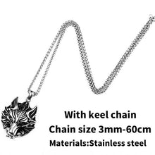 Load image into Gallery viewer, Stainless Steel wolf pendant necklace