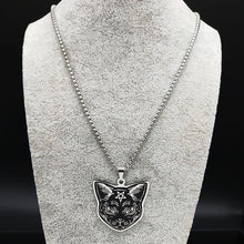 Load image into Gallery viewer, Witchcraft Pentagram Cat Necklace