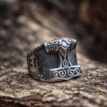 Load image into Gallery viewer, Viking Good Luck Rune Mjolnir Thor Hammer Nordic Ring