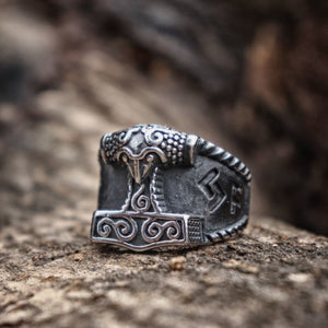 Viking Good Luck Rune Mjolnir Thor Hammer Nordic Ring