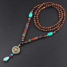 Load image into Gallery viewer, Long Buddhist Wooden Mala Necklace