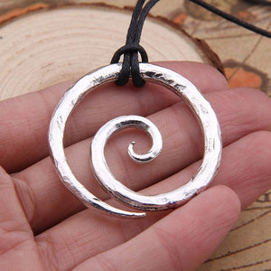 Viking Spiral Pendant with Leather Neck Cord