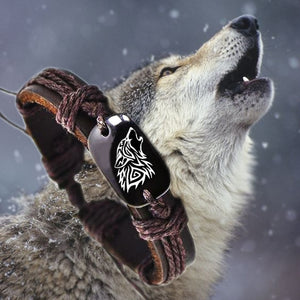 Howling Wolf Bone & Leather Bracelet