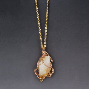 Natural Stone Wire Wrapped Pendant Necklace