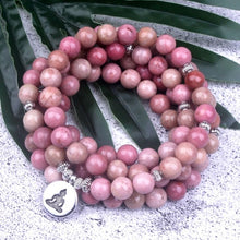 Load image into Gallery viewer, Natural Rhodochrosite 108 Beads Mala Bracelet
