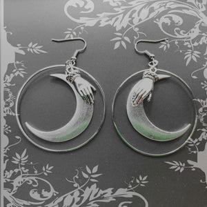 Witchy Moon and Hand Hoop Earrings