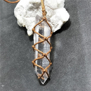 White Amethyst Quartz Pendant Necklace