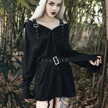 Load image into Gallery viewer, Gothic Straight Belt Button Dress