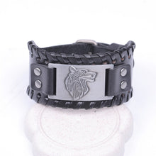Load image into Gallery viewer, Viking Wolf Leather Bracelet