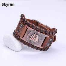 Load image into Gallery viewer, 24 Nordic Runes Leather Bracelet