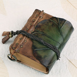 100% Genuine Leather Leaf Notebook