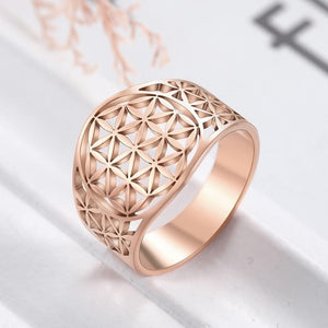 Stainless Steel Flower of Life Ring