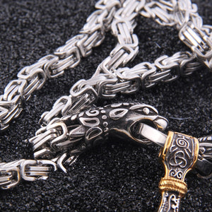 Viking Wolf Head Thor's Hammer Necklace