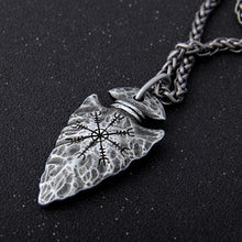 "Load image into Gallery viewer, Viking Rune ""Aegishjalmr"" Spear Pendant  Necklace"