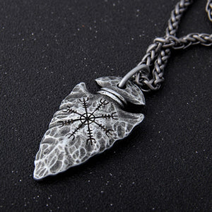 "Viking Rune ""Aegishjalmr"" Spear Pendant  Necklace"