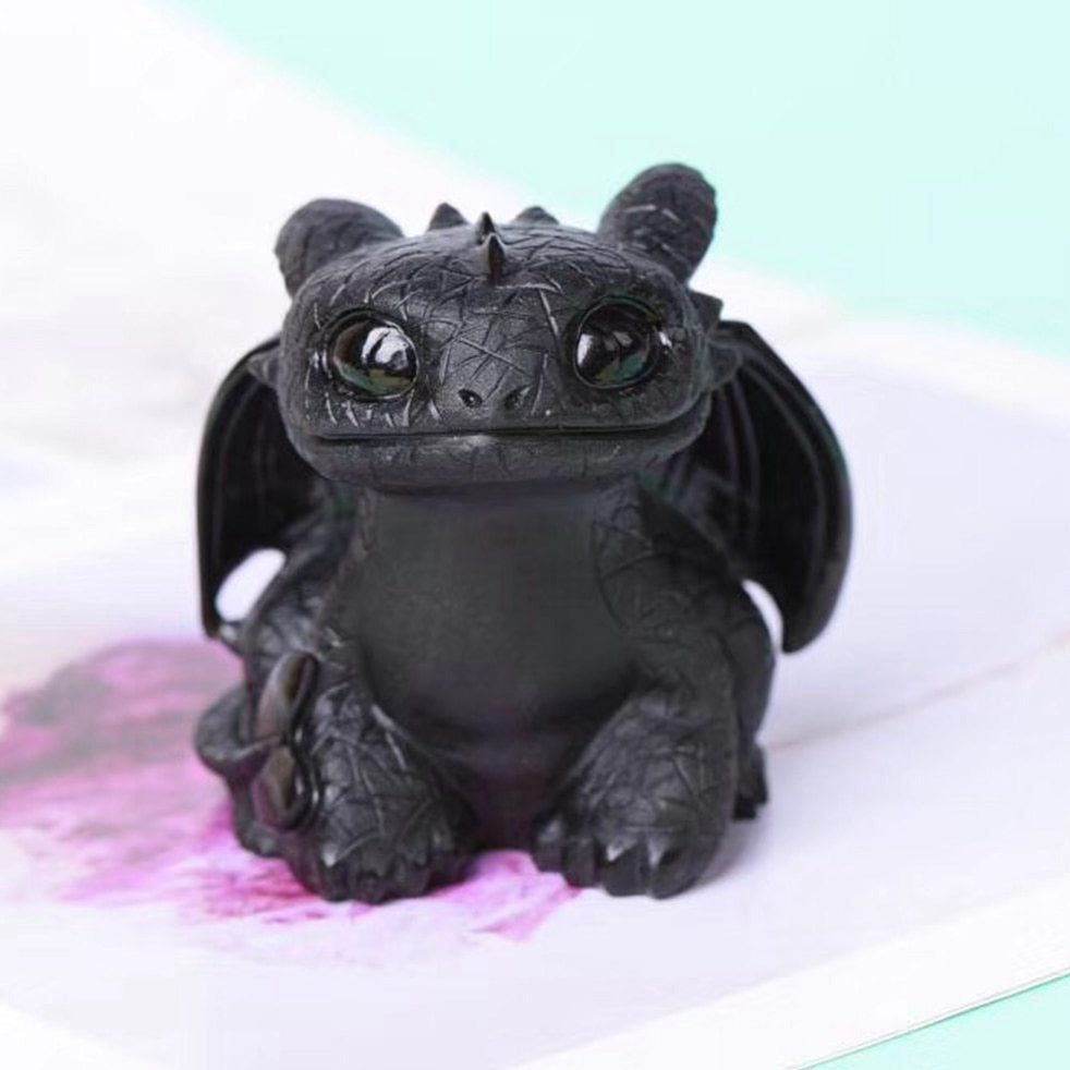 Natural Obsidian Quartz Toothless Dragon Sculpture