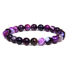 Load image into Gallery viewer, Natural Amethysts Agates Chalcedony Stone Beads Bracelet