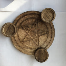 Load image into Gallery viewer, Pentagram Wooden Altar Plate