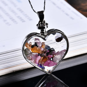 Natural Crystal Wishing Bottle Heart Pendant