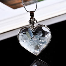 Load image into Gallery viewer, Natural Crystal Wishing Bottle Heart Pendant