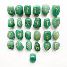 Load image into Gallery viewer, Natural Green Aventurine Crystal Rune Stones Set