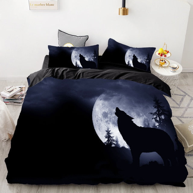Howling Wolf Moon Bedding Set