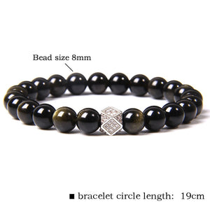 Natural Black Tourmaline Obsidian Bracelet