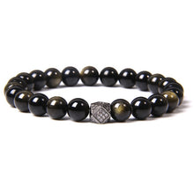 Load image into Gallery viewer, Natural Black Tourmaline Obsidian Bracelet