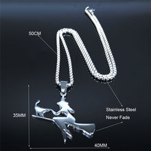 Load image into Gallery viewer, Witch with Cat Riding Broom Pendant Necklace