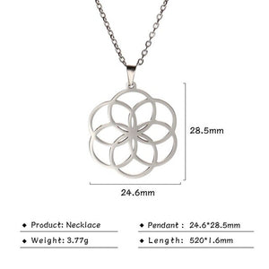 Stainless Steel Flower of Life Pendant Necklace