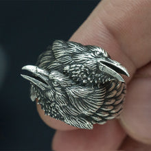 Load image into Gallery viewer, Two Entwined Ravens Viking Norse Ring