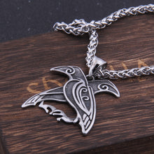 Load image into Gallery viewer, Odin Huginn and Muninn Raven Pendant Necklace
