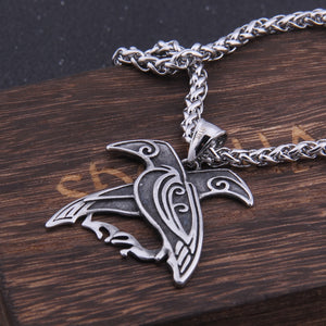 Odin Huginn and Muninn Raven Pendant Necklace