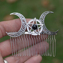 Load image into Gallery viewer, Witch Moon Pentagram Hair Comb