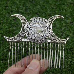 Witch Moon Pentagram Hair Comb