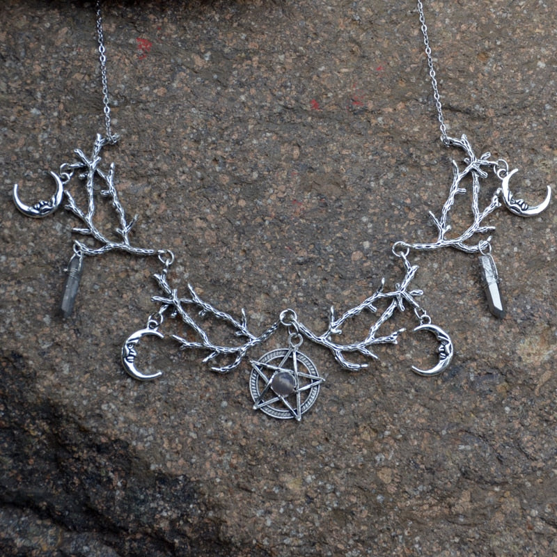 Witchy Forest Pentagram Quartz Necklace