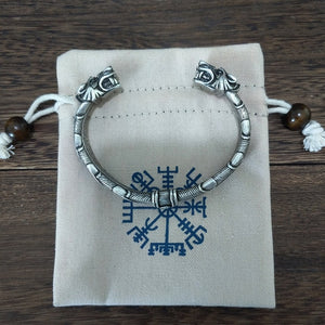 Wolf Head Viking Bangle Bracelet