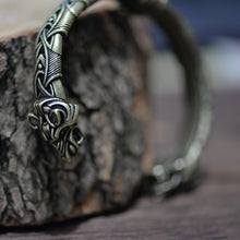 Load image into Gallery viewer, Wolf Head Viking Bangle Bracelet