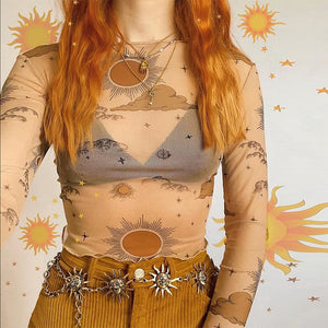 Sun Moon Mesh Crop Top