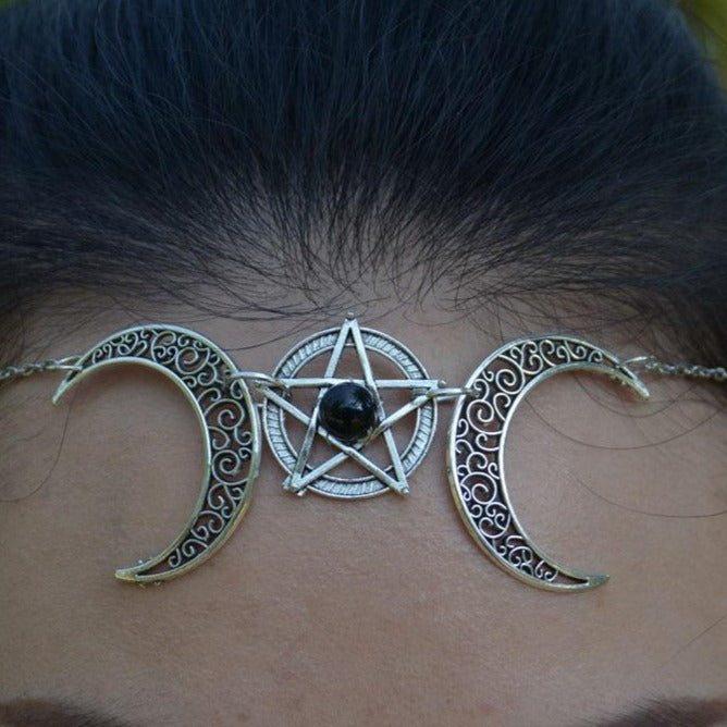 Wiccan Crescent Moon Pentagram Head Chain