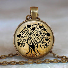 Load image into Gallery viewer, Tree Of Life Glass Cabochon Pendant Necklace