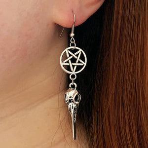 Crow Skull Pentagram Earrings