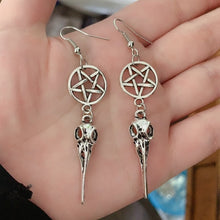 Load image into Gallery viewer, Crow Skull Pentagram Earrings
