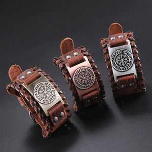 Genuine Leather Viking Compass Nordic Runes Odin Bracelet